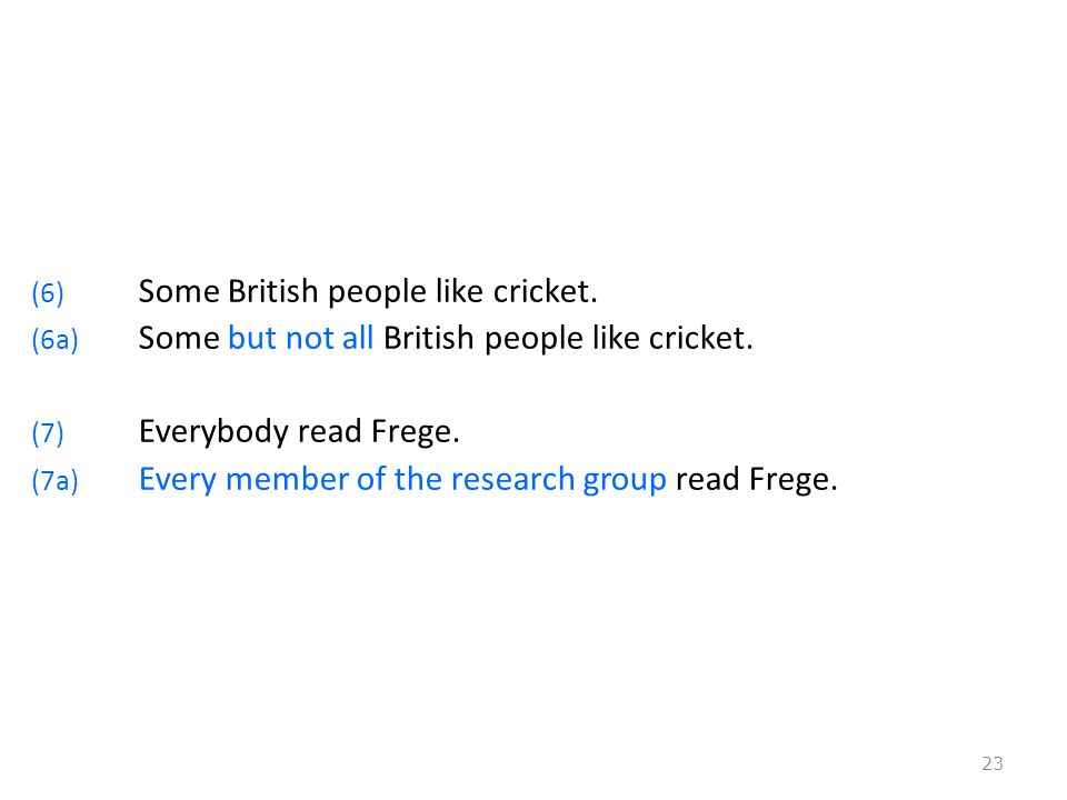 (6) Some British people like cricket. (6a) Some but not all British people like cricket.