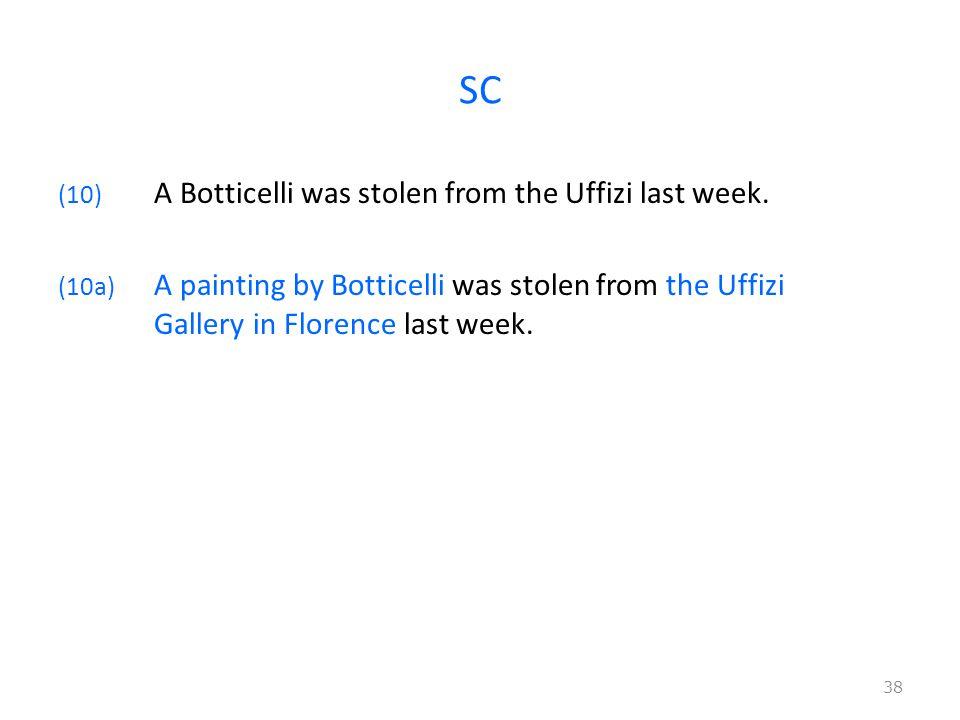 SC (10) A Botticelli was stolen from the Uffizi last week. (10a) A painting by Botticelli was stolen from the Uffizi Gallery in Florence last week. 38