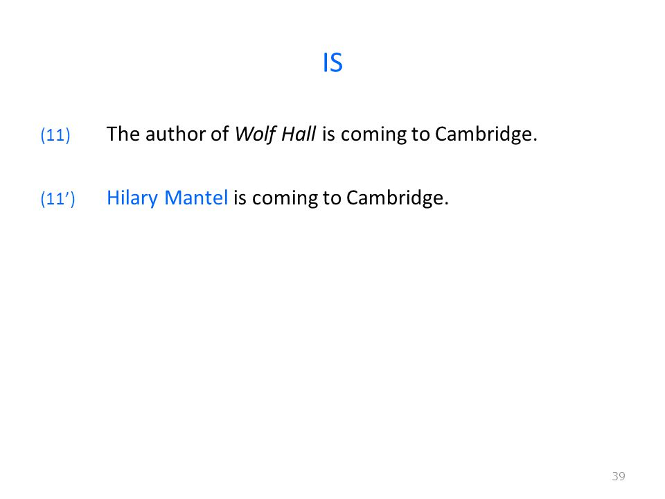 IS (11) The author of Wolf Hall is coming to Cambridge.