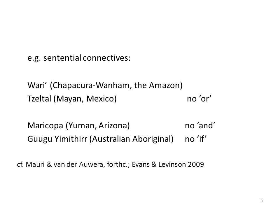 e.g. sentential connectives: Wari' (Chapacura-Wanham, the Amazon) Tzeltal (Mayan, Mexico) no 'or' Maricopa (Yuman, Arizona) no 'and' Guugu Yimithirr (