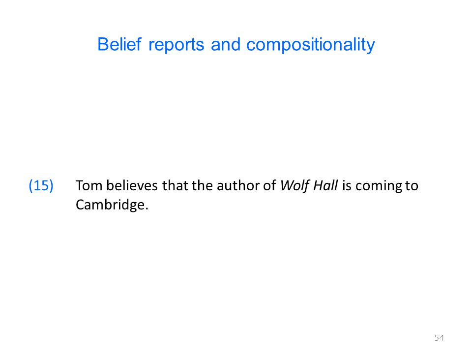 Belief reports and compositionality (15)Tom believes that the author of Wolf Hall is coming to Cambridge.