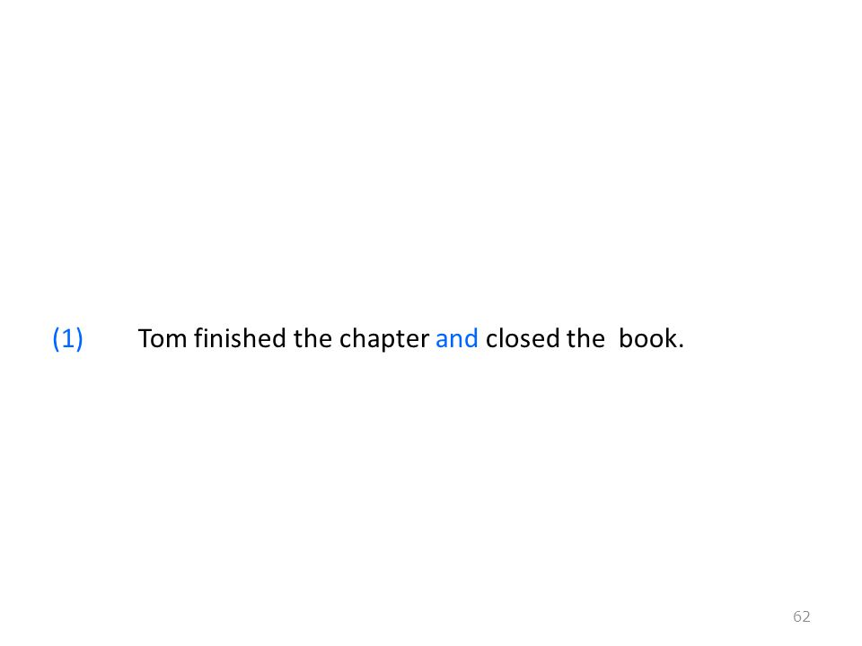 (1)Tom finished the chapter and closed the book. 62