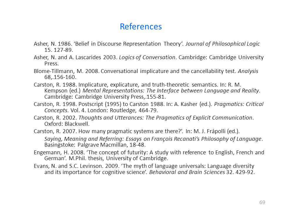 References Asher, N 'Belief in Discourse Representation Theory'.