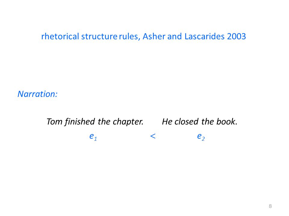 rhetorical structure rules, Asher and Lascarides 2003 Narration: Tom finished the chapter.He closed the book.