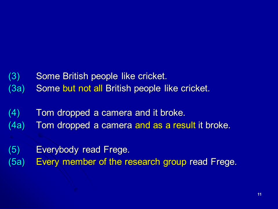 11 (3)Some British people like cricket. (3a)Some but not all British people like cricket.
