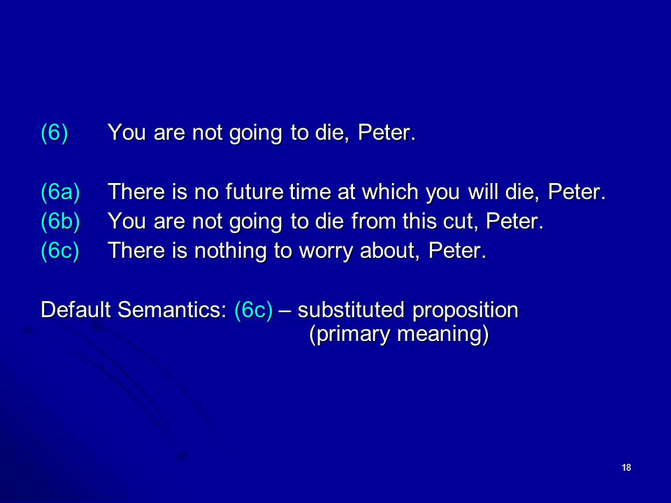 18 (6)You are not going to die, Peter. (6a)There is no future time at which you will die, Peter.