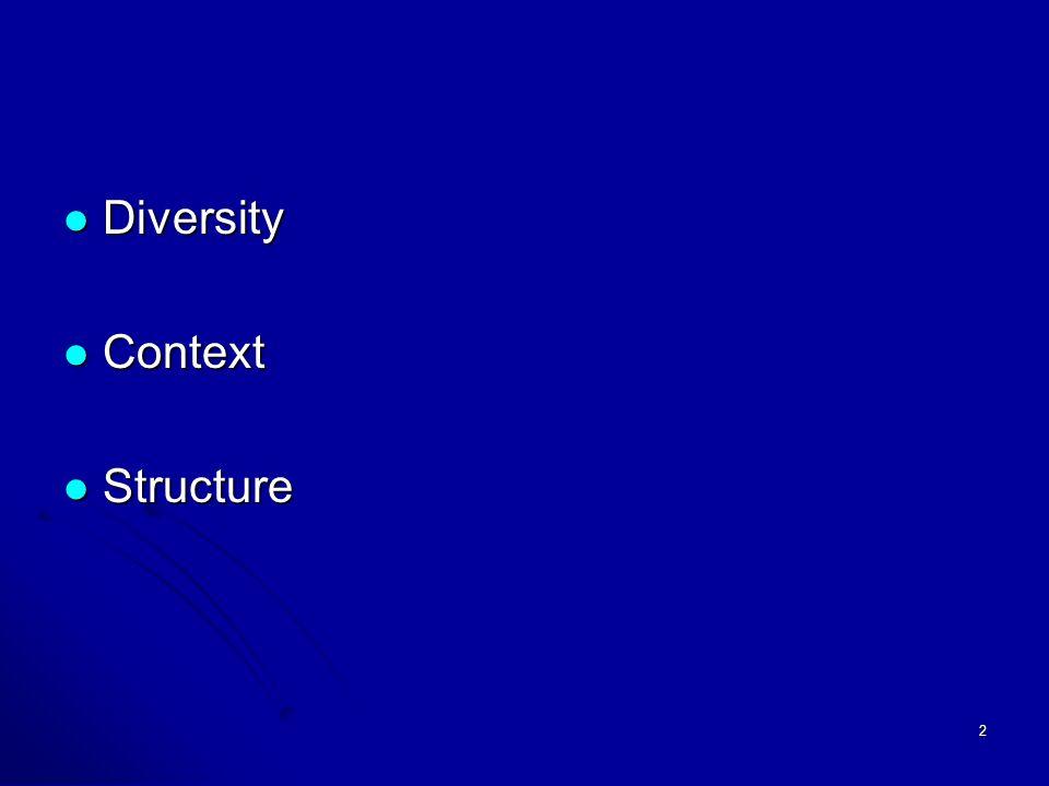 2 Diversity Diversity Context Context Structure Structure