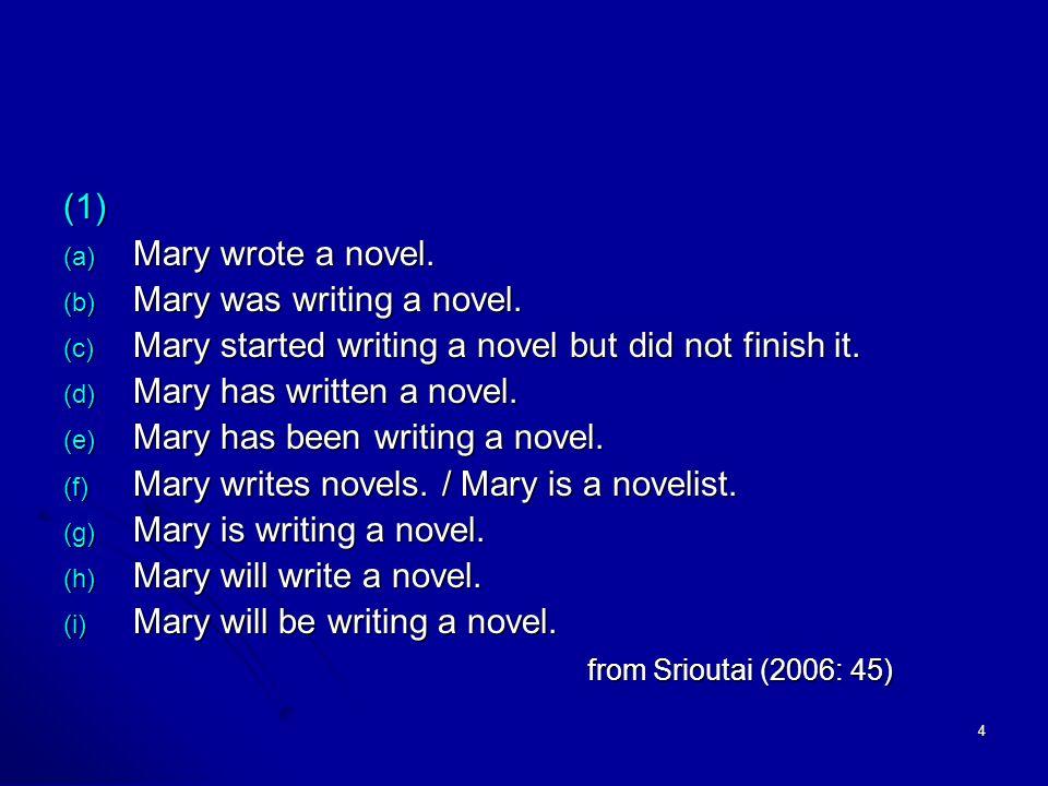4 (1) (a) Mary wrote a novel. (b) Mary was writing a novel.
