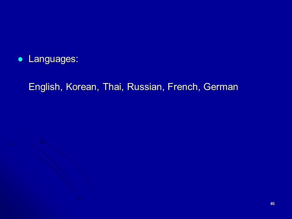 46 Languages: Languages: English, Korean, Thai, Russian, French, German