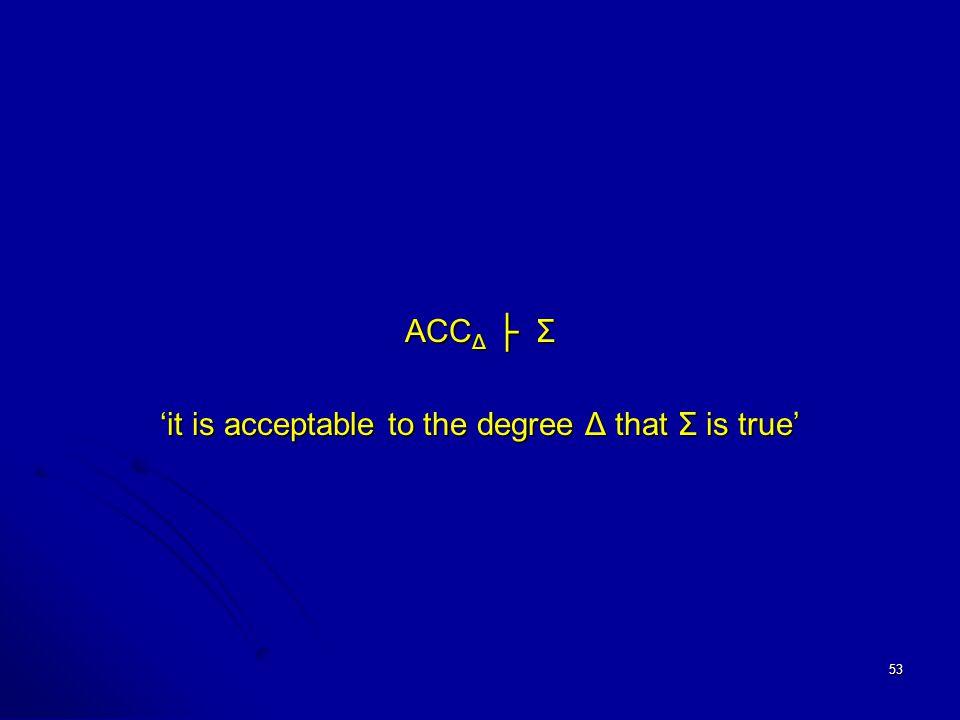 53 ACC Δ ├ Σ 'it is acceptable to the degree Δ that Σ is true'