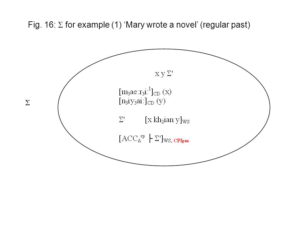  Fig. 16:  for example (1) 'Mary wrote a novel' (regular past)