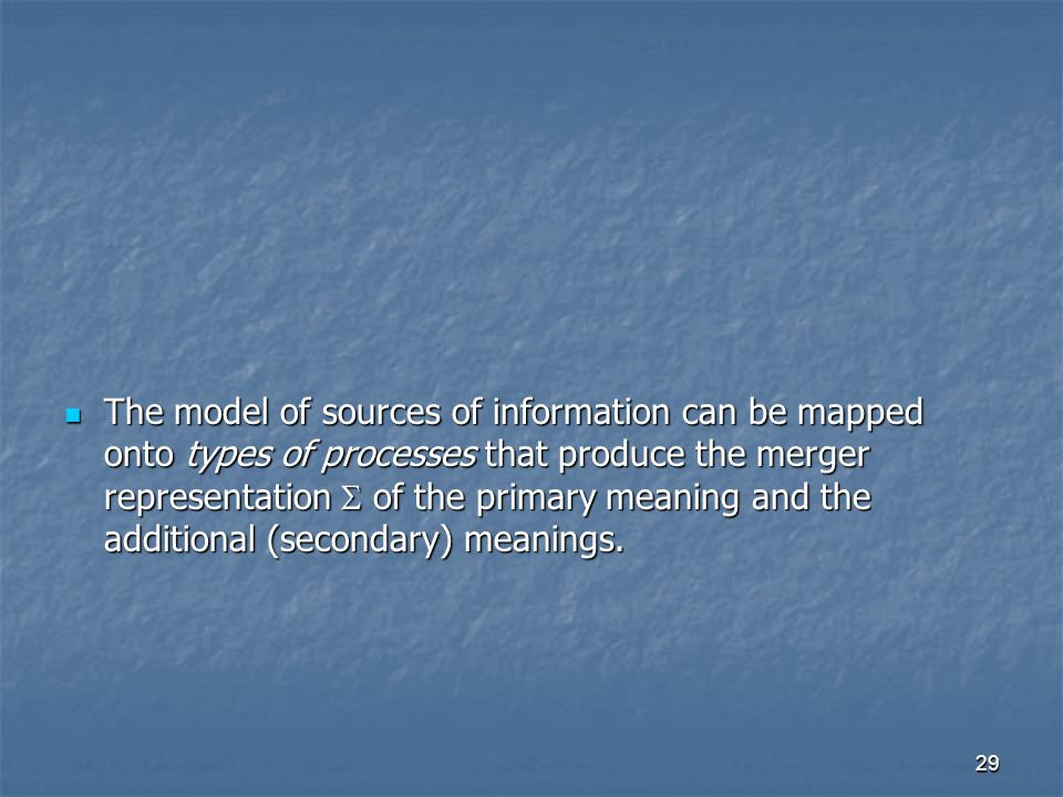 29 The model of sources of information can be mapped onto types of processes that produce the merger representation  of the primary meaning and the additional (secondary) meanings.