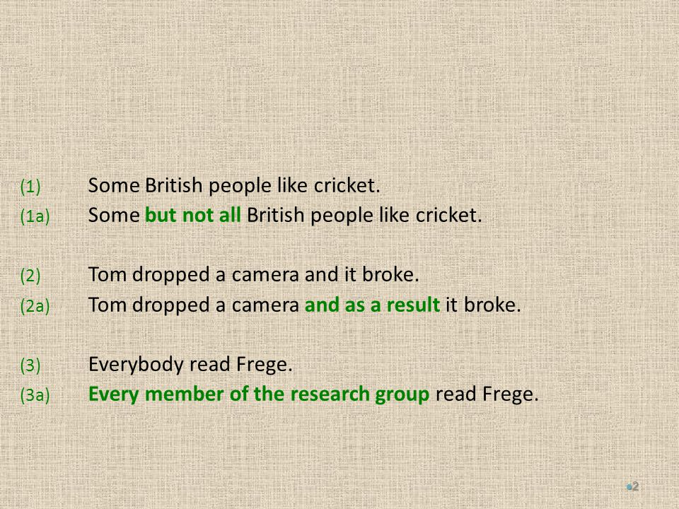 (1) Some British people like cricket. (1a) Some but not all British people like cricket.