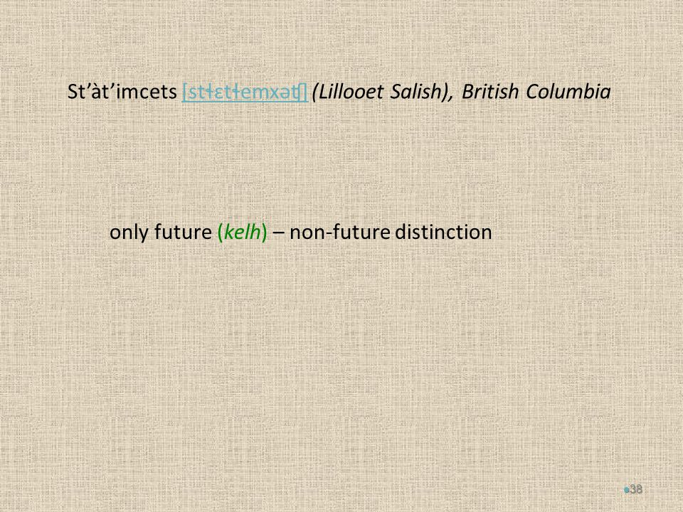 St'àt'imcets [stɬɛtɬemxəʧ] (Lillooet Salish), British Columbia[stɬɛtɬemxəʧ] only future (kelh) – non-future distinction 38