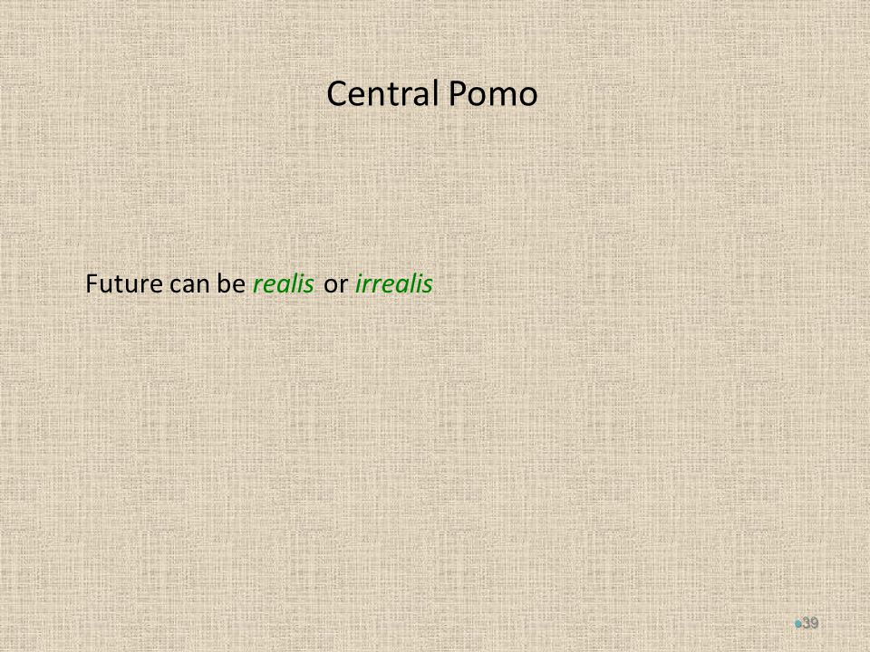 Central Pomo Future can be realis or irrealis 39