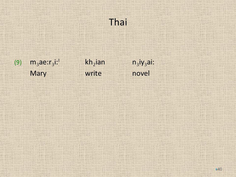 Thai (9) m 3 ae:r 3 i: I kh 2 iann 3 iy 3 ai: Marywritenovel 40
