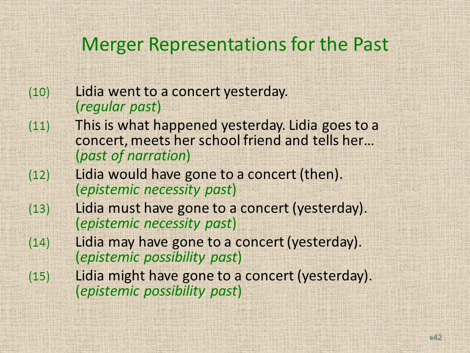 Merger Representations for the Past (10) Lidia went to a concert yesterday.