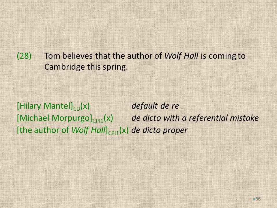 (28)Tom believes that the author of Wolf Hall is coming to Cambridge this spring.
