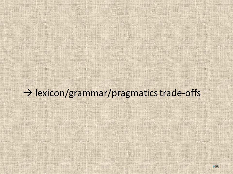  lexicon/grammar/pragmatics trade-offs 66