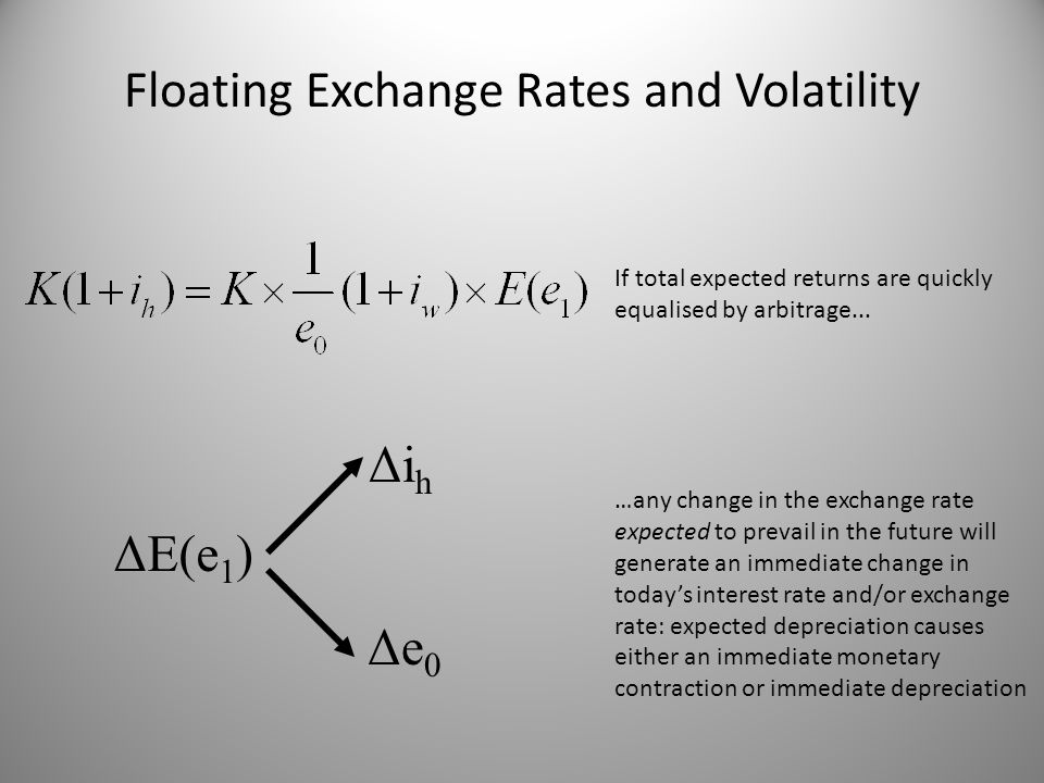 ΔE(e 1 ) Δi h Δe 0 Floating Exchange Rates and Volatility If total expected returns are quickly equalised by arbitrage... …any change in the exchange