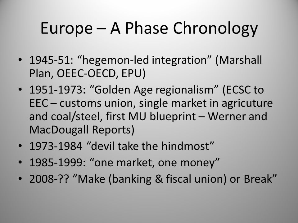 "Europe – A Phase Chronology 1945-51: ""hegemon-led integration"" (Marshall Plan, OEEC-OECD, EPU) 1951-1973: ""Golden Age regionalism"" (ECSC to EEC – cust"