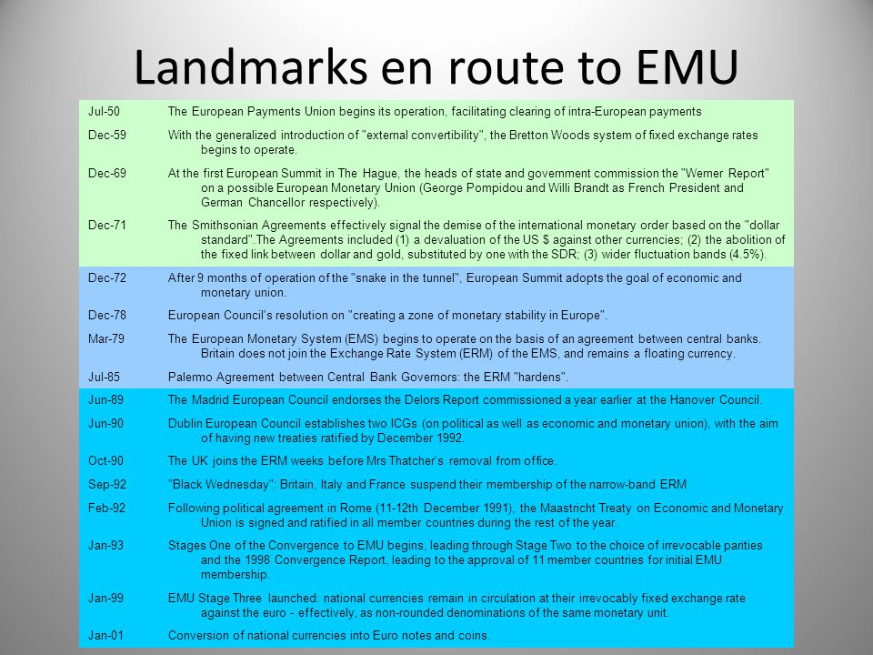 Landmarks en route to EMU Jul-50The European Payments Union begins its operation, facilitating clearing of intra-European payments Dec-59With the gene