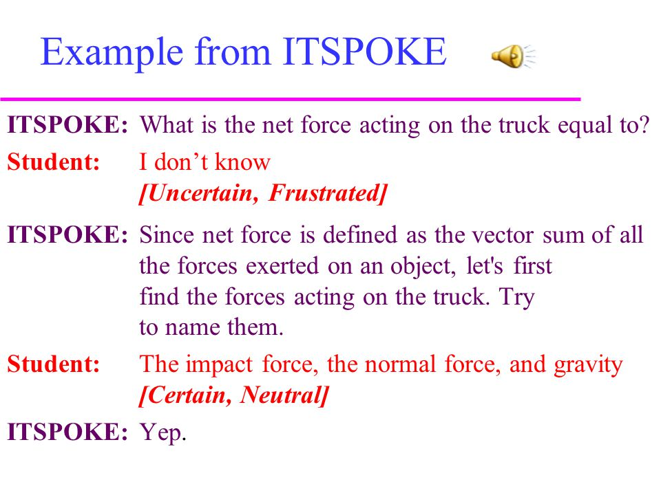 Example from ITSPOKE ITSPOKE: What is the net force acting on the truck equal to.