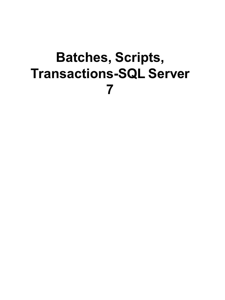 BEGIN TRAN UPDATE authors SET city = `San Jose WHERE name = `Smith INSERT titles VALUES (`BU1122 , Teach Yourself SQL Server in 21 days , business , 9998 ,$35.00, $1000.00,10,4501, `A great book! ) SELECT * from titleauthor COMMIT TRAN Explicit Transactions
