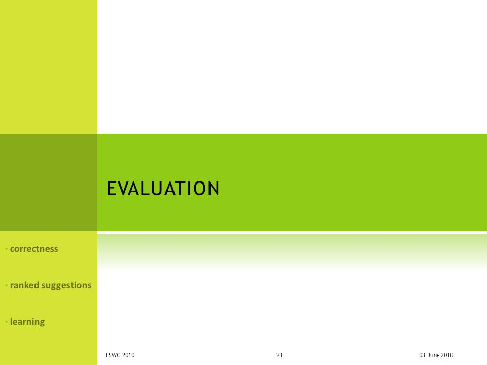 EVALUATION correctness ranked suggestions learning 03 J UNE 2010ESWC 2010 21