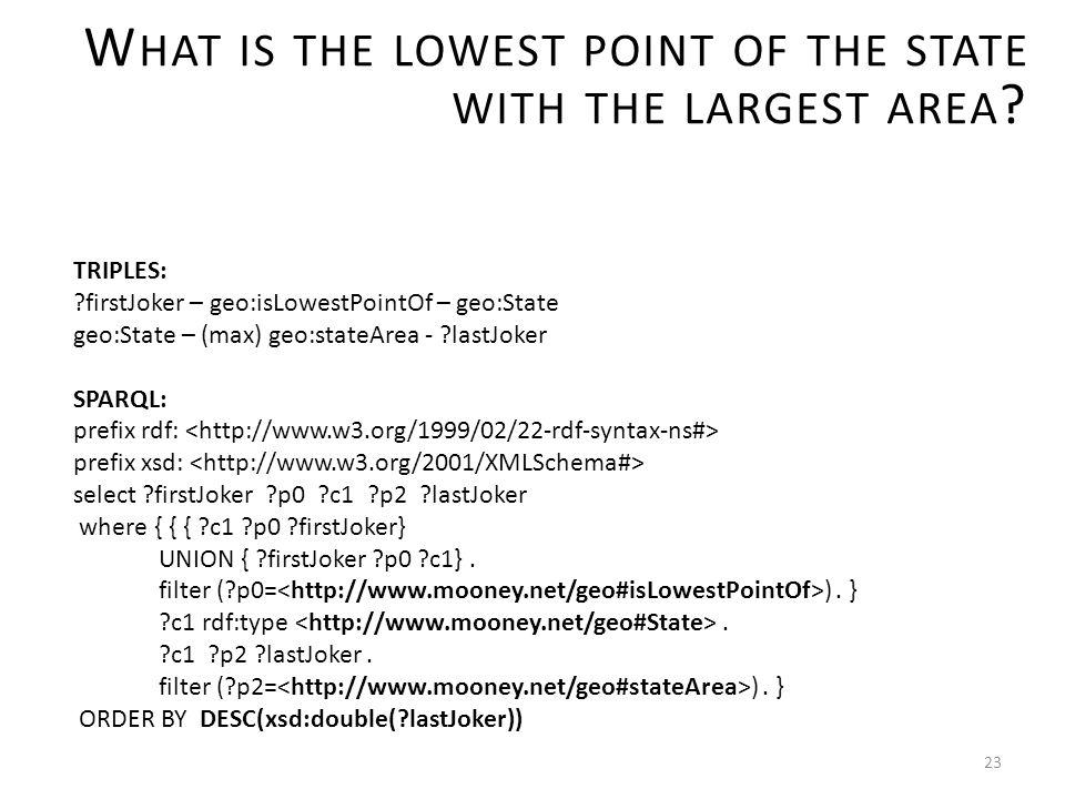 23 TRIPLES: firstJoker – geo:isLowestPointOf – geo:State geo:State – (max) geo:stateArea - lastJoker SPARQL: prefix rdf: prefix xsd: select firstJoker p0 c1 p2 lastJoker where { { { c1 p0 firstJoker} UNION { firstJoker p0 c1}.