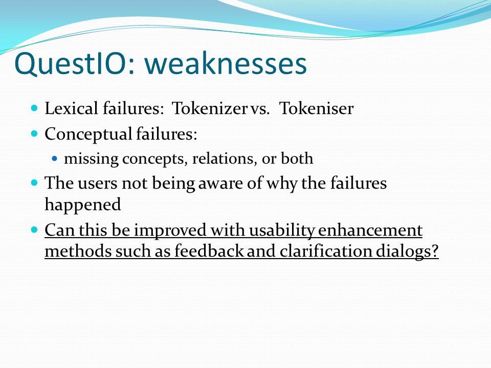 QuestIO: weaknesses Lexical failures: Tokenizer vs.
