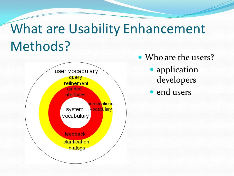 What are Usability Enhancement Methods? Who are the users? application developers end users