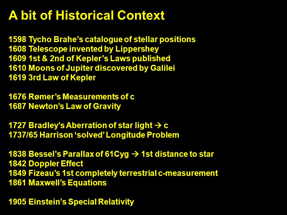 A bit of Historical Context 1598 Tycho Brahe's catalogue of stellar positions 1608 Telescope invented by Lippershey 1609 1st & 2nd of Kepler's Laws pu