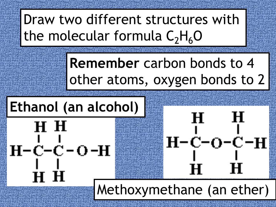 Alcohols All alcohols contain the hydroxyl functional group -OH and have similar chemical properties Ethanol can be represented any of these ways;