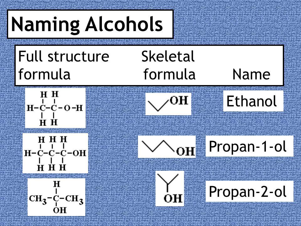 Full structure Skeletal formula formula Name Butan-1-ol Pentan-1-ol Butan-2-ol Pentan-3-ol
