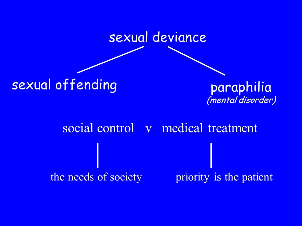 sexual offending sexual deviance paraphilia (mental disorder) social control v medical treatment the needs of societypriority is the patient