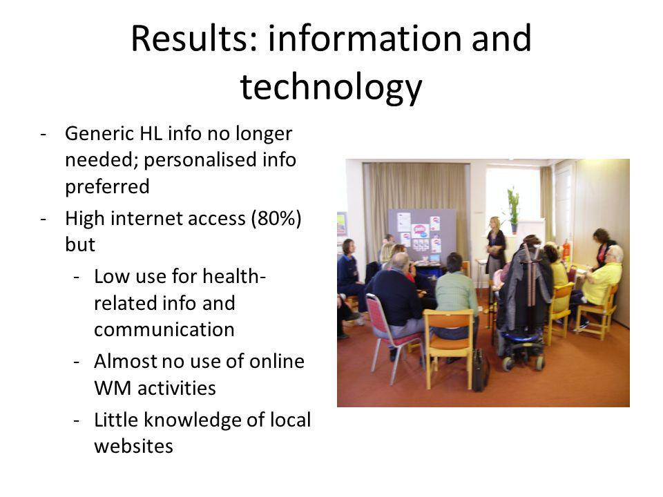 Results: information and technology -Generic HL info no longer needed; personalised info preferred -High internet access (80%) but -Low use for health
