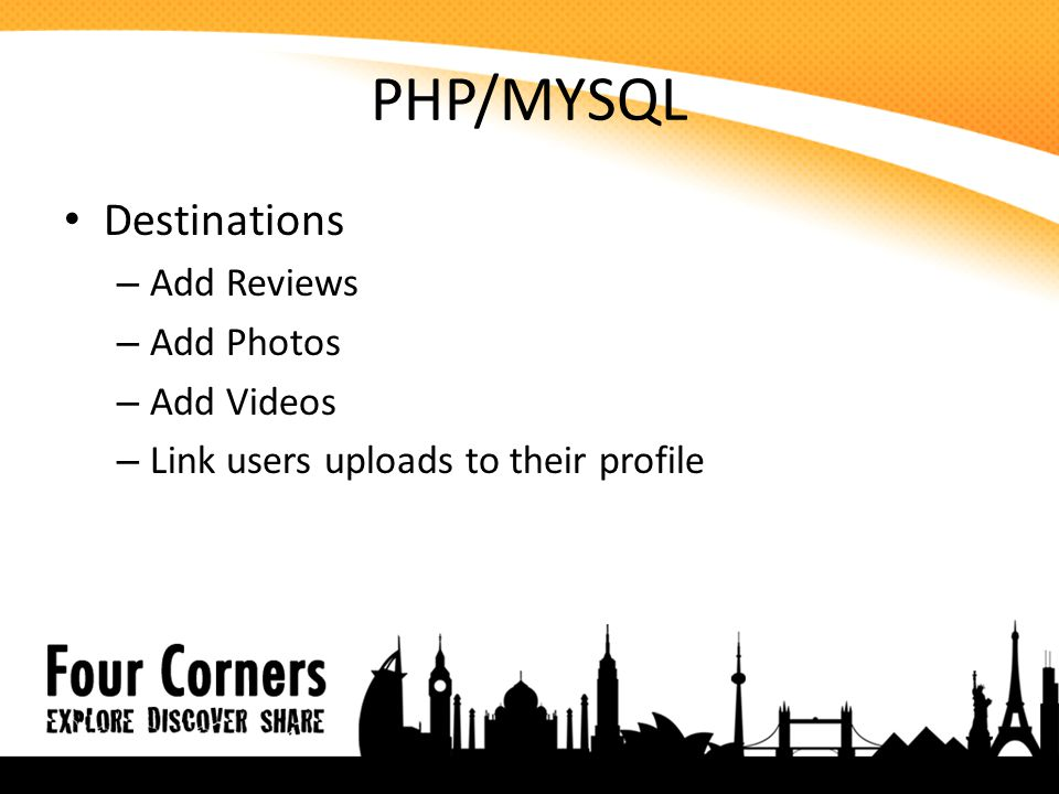 PHP/MYSQL Destinations – Add Reviews – Add Photos – Add Videos – Link users uploads to their profile