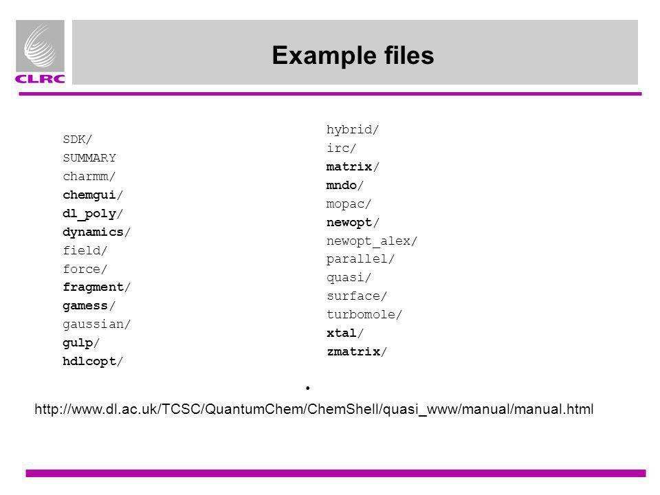 Example files SDK/ SUMMARY charmm/ chemgui/ dl_poly/ dynamics/ field/ force/ fragment/ gamess/ gaussian/ gulp/ hdlcopt/ hybrid/ irc/ matrix/ mndo/ mop