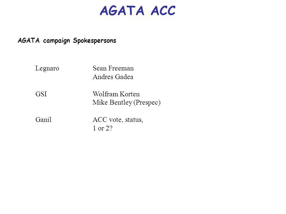 AGATA ACC AGATA campaign Spokespersons LegnaroSean Freeman Andres Gadea GSIWolfram Korten Mike Bentley (Prespec) GanilACC vote, status, 1 or 2?