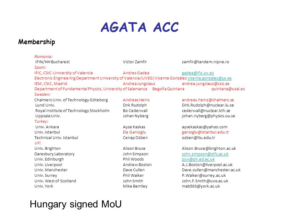 AGATA ACC Membership Romania: IFIN/HH BucharestVictor Zamfirzamfir@tandem.nipne.ro Spain: IFIC, CSIC-University of ValenciaAndres Gadea gadea@ific.uv.esgadea@ific.uv.es Electronic Engineering Department University of Valencia (UVEG) Vicente González vicente.gonzalez@uv.esvicente.gonzalez@uv.es IEM, CSIC, MadridAndrea Jungclausandrea.jungclaus@csic.es Department of Fundamental Physics, University of Salamanca Begoña Quintana quintana@usal.es Sweden: Chalmers Univ.