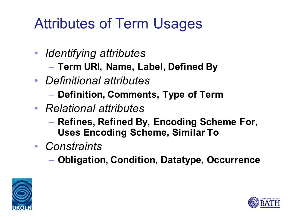 Attributes of Term Usages Identifying attributes –Term URI, Name, Label, Defined By Definitional attributes –Definition, Comments, Type of Term Relational attributes –Refines, Refined By, Encoding Scheme For, Uses Encoding Scheme, Similar To Constraints –Obligation, Condition, Datatype, Occurrence