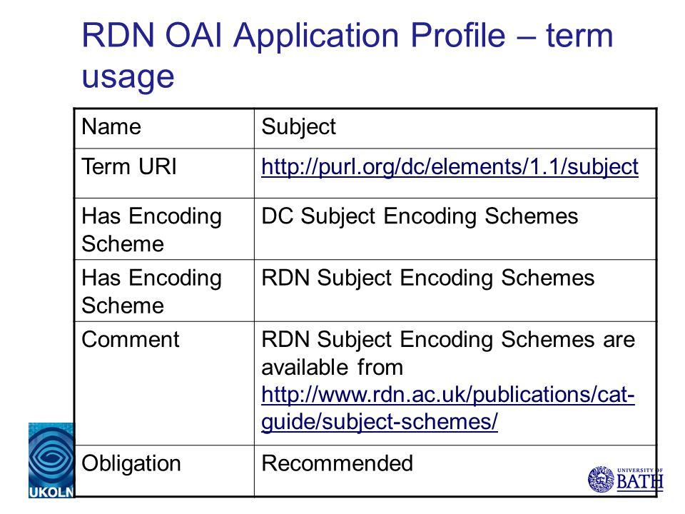 NameSubject Term URIhttp://purl.org/dc/elements/1.1/subject Has Encoding Scheme DC Subject Encoding Schemes Has Encoding Scheme RDN Subject Encoding S