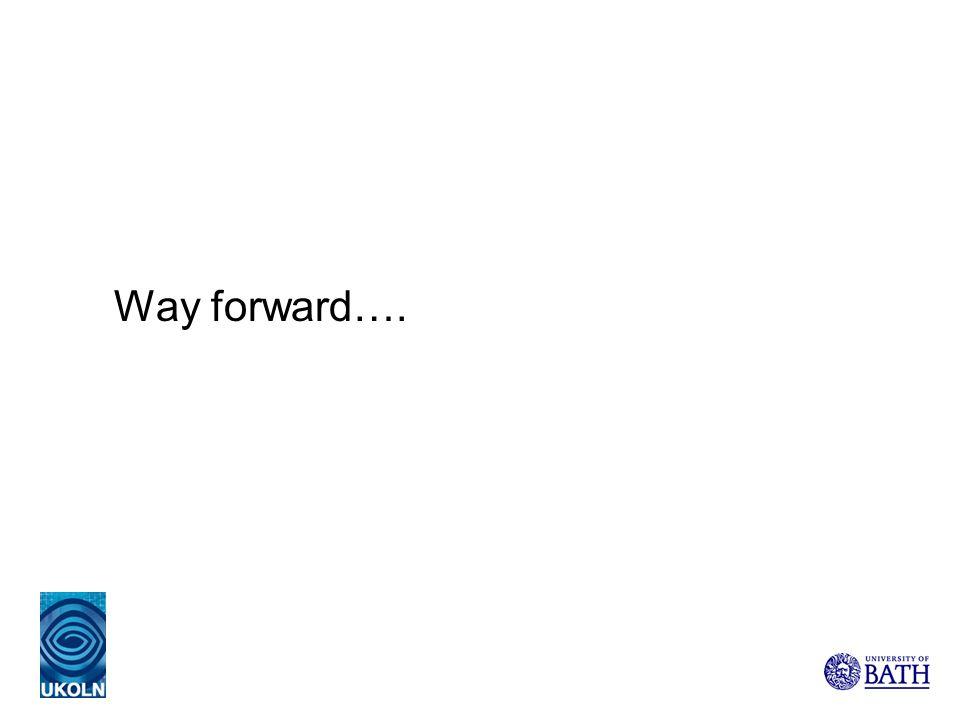 Way forward….