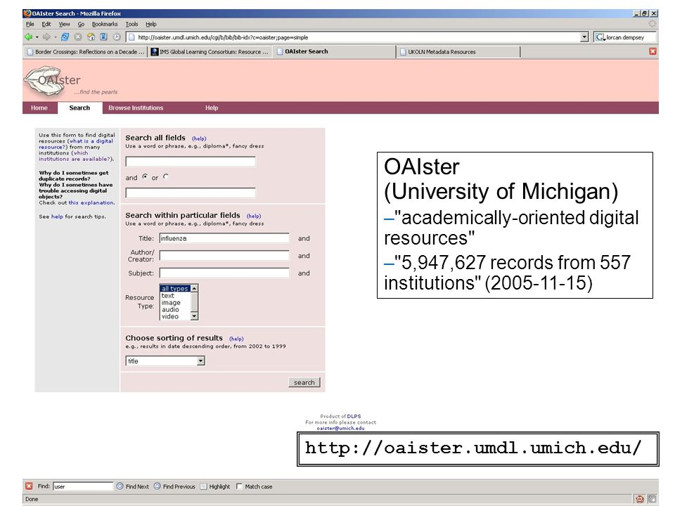 OAIster (University of Michigan) –