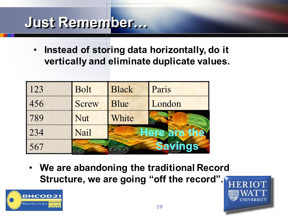 19 Just Remember… Instead of storing data horizontally, do it vertically and eliminate duplicate values.