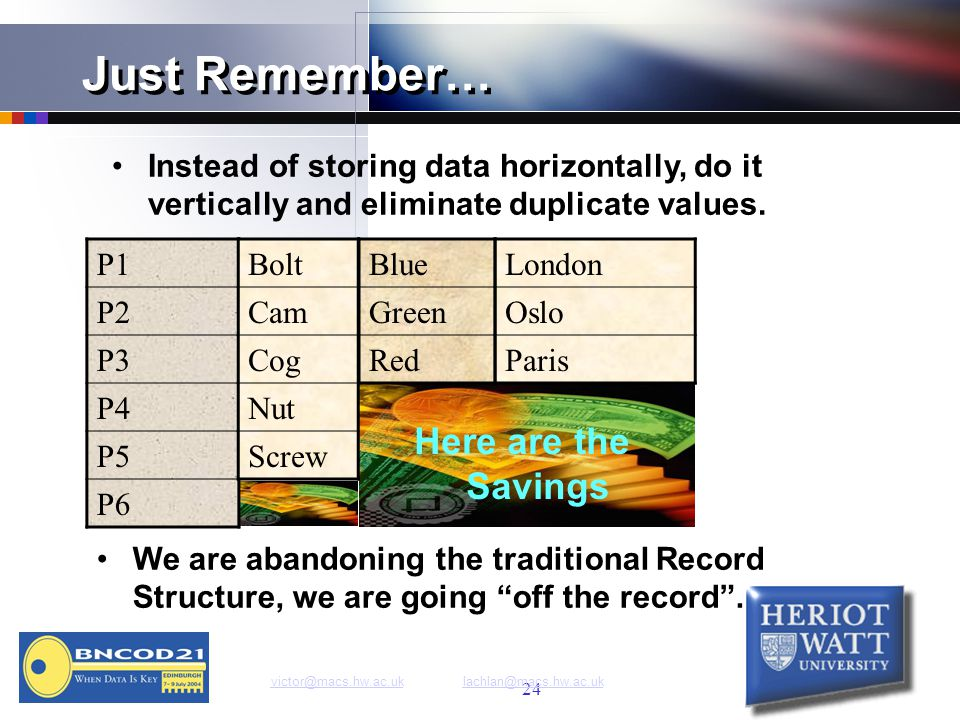 24 Just Remember… Instead of storing data horizontally, do it vertically and eliminate duplicate values.