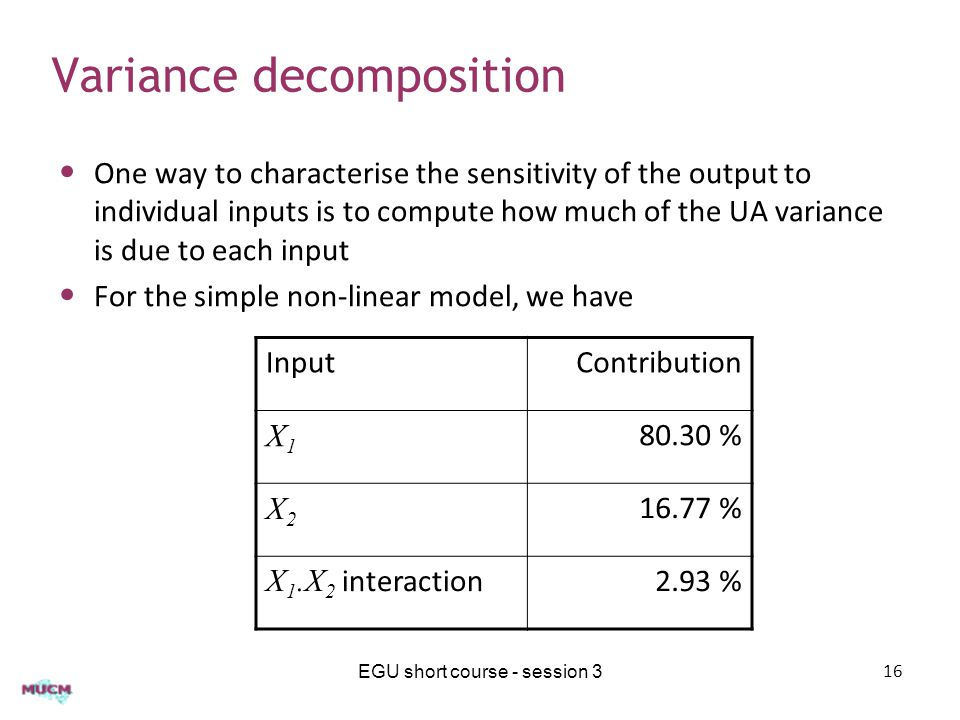 Variance decomposition One way to characterise the sensitivity of the output to individual inputs is to compute how much of the UA variance is due to each input For the simple non-linear model, we have EGU short course - session 316 InputContribution X1X1 80.30 % X2X2 16.77 % X 1.X 2 interaction2.93 %