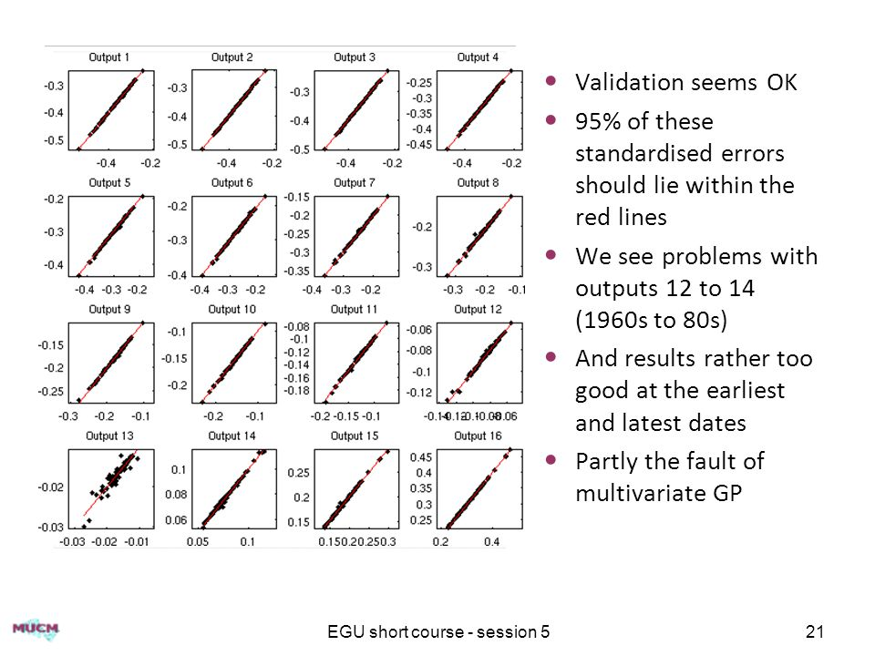 EGU short course - session 521 Validation seems OK 95% of these standardised errors should lie within the red lines We see problems with outputs 12 to 14 (1960s to 80s) And results rather too good at the earliest and latest dates Partly the fault of multivariate GP