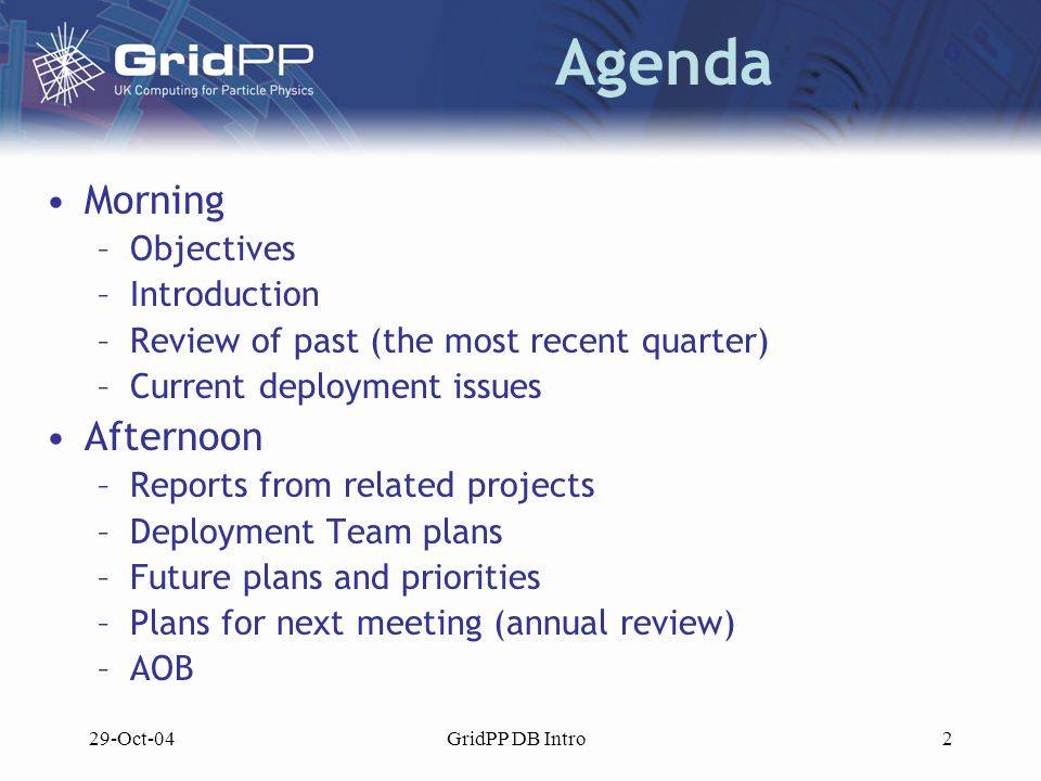 29-Oct-04GridPP DB Intro3 Today's Objectives First meeting of the new Deployment Board –Understand and agree its role –Identify individual responsibilities Agreed inputs and outputs of the DB Clear record of GridPP deployment plans and issues Understand how middleware and applications development will impact deployment activities Understand how CERN, UK NGS, Grid Ireland, EGEE and LCG developments will impact deployment activities Agreed list of priorities for the deployment team